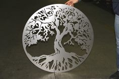 "steel ""tree of life"" created by using laser cutting machines. CMMLASER ITALY"
