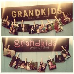 DIY - Grandkids photo hanger   Home Depot and Lowes will cut your wood for free! Just add paint and  stickers. Staple knotted twine to each end of your board, hang photos. Can also nail clothes pins directly to board.