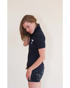 BEElieve in yourself navy, short sleeve piqué feminine fit polo-shirt Loose Goose Canada