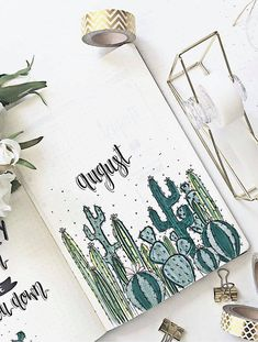Cactus inspired the distribution of the bullet journal Cactus . - Cactus inspired the distribution of the Bullet Journal Cactus inspired the spread of - Bullet Journal August, Bullet Journal Doodles, Bullet Journal Cover Page, Bullet Journal Notebook, Bullet Journal Inspo, Bullet Journal Spread, Bullet Journals, Cactus Doodle, Cactus Cactus