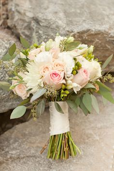 Coral, Peach & Pink Roses, Green Hypericum Berries, Pink Dahlias, Mini Green Hydrangea, Pink Lisianthus & Seeded Eucalytpus.