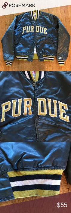 Vintage Purdue Bomber Jacket Vintage Purdue Starter bomber jacket. Good condition, slight fading and wear on cuffs and hem due to wear as pictured but still has a lot of wear left! Looks great on both men and women, but is a size medium in men's. Starter Jackets & Coats Bomber & Varsity
