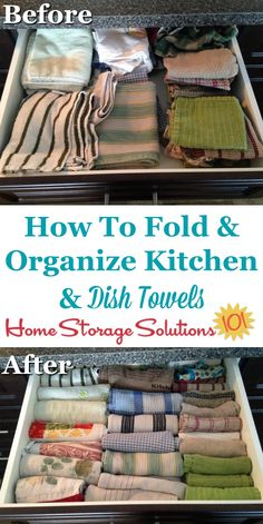Before and after photos to show how simply rolling your kitchen towels and dish cloths can organize and tidy the drawer significanly {on Home Storage Solutions 101} #KitchenOrganization #OrganizingTips #Organize