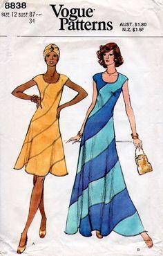 1970s Swirl Dress Pattern Vogue 8838 Vintage by BessieAndMaive