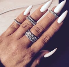 Long White Stiletto Nails| Simple Nails More