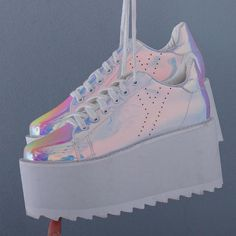 "Harajuku Laser Students Platform Shoes SE11263      Use coupon code ""cutekawaii"" for 10% off       #shoes #shoesaddict"