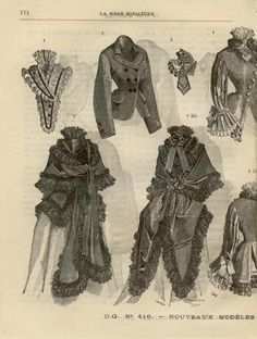 LA MODE MINIATURE  ... dated May 30, 1874. First bustle period, Victorian fashion plate. Stunning outerwear, capes, jackets etc.
