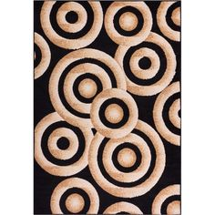 Miami Sunshine Circles Black 8 ft. 2 in. x 9 ft. 10 in. Contemporary Area Rug
