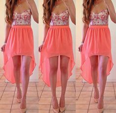 High low skirt, floral bustier