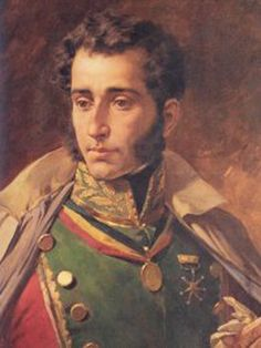 "Antonio José de Sucre (1795-1830). A young aristocratic Venezuelan ""criollo"", from a very young age joined the war against the Spaniards. He became famous for his military genius, particularly displayed in the battle of Ayacucho (Perú, 1824). He was assasinated in 1830, and the news badly aggravated Bolívar's health. Writing to Santander, Bolívar had said ""I am the man of the difficulties, you are the man of the laws, and Sucre is the man of the war""."