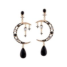 Rhinestone Resin Moon Star Teardrop Earrings Black (£4.26) ❤ liked on Polyvore featuring jewelry, earrings, rhinestone teardrop earrings, rhinestone stud earrings, resin jewelry, tear drop earrings and teardrop earrings