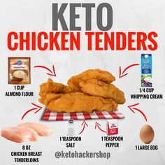 KETO CHICKEN TENDERS Chicken tenders that are keto friendly?? . Yep! These are low carb chicken tenders that still are golden brown and have that classic crunch! . YOU WILL NEED 8 ounces chicken breast tenderloins (about 6 pieces) 1 cup almond flour 1 teaspoon salt 1 teaspoon pepper 1/4 cup Heavy Whipping Cream 1 large egg . DIRECTIONS For the coating- whisk egg and cream in a large bowl. Season with salt and pepper. . Add chicken and let sit for about 10 minutes. . Next add almond our to a…
