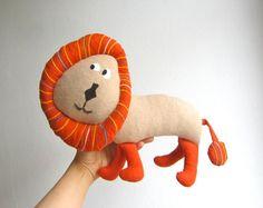 Lion+organic+plush+orange+animal+toy+baby+child+soft+от+pingvini