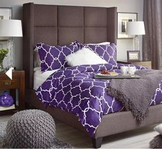 Master Bedroom - Love the purple and grey together! Dream Master Bedroom, Master Bedrooms, Beautiful Space, Beautiful Homes, Dry Creek Bed, Urban Barn, Holiday Wishes, Bedroom Inspiration, Bedroom Ideas