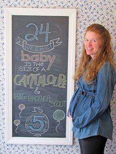 24 WEEK CHALKBOARD, 24 WEEKS PREGNANT, BABY BUMP, CANTALOUPE CHALKBOARD, PREGNANCY CHALKBOARD