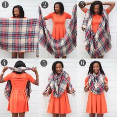 Blanket Scarf Tutorial, How to tie a blanket scarf Vida Fashionista - Schal binden Blanket Scarf Outfit, How To Wear A Blanket Scarf, Ways To Wear A Scarf, How To Wear Scarves, Scarf Tying Blanket, How To Fold Scarf, Scarf Tutorial, Fall Winter Outfits, Scarf Styles