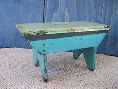 "Antique Primitive 16-3/4"" Foot Stool Footstool Bench, Wood, Blue Paint"