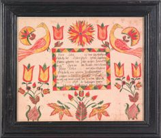 "Abraham Huth(Pennsylvania, active 1807-1830), ink and watercolor fraktur dated 1819, done for Peter Lebo, 13"" x 16""."