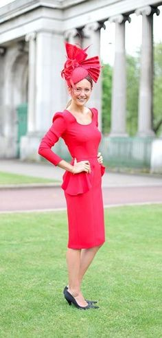 Lav is wearing a Beulah dress in fiery red, topped off by an Edwina Ibbotson creation. Races Fashion, Fashion 2015, Race Day Outfits, Race Wear, Ascot Hats, Diy Hat, Fiery Red, Royal Ascot, Fascinator Hats