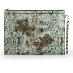 Matthew Williamson Women's Nomad Dragonfly Pouch Leather Clutch Bag -... (505 CAD) ❤ liked on Polyvore featuring bags, handbags, clutches, borse, clutches / wallets / purses, snake skin purse, leather pouch, leather wristlet, leather purse e genuine leather handbags