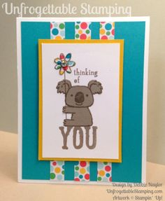 Unfrogettable Stamping |  QE thinking of you card featuring the Kind Koala stamp set with A Cherry on Top DSP stack by Stampin' Up! for week of 2015-06-08