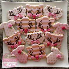 Antlers, Roses & Bows Girl Baby Shower Cookies