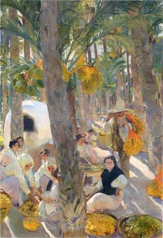 Pintura de Joaquin Sorolla y Bastida de un huerto de elche