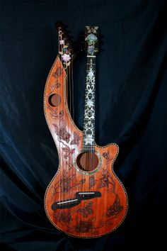 Blueberry Custom Order  Harp Guitar Singular Masterpiece  Eight Month Delivery