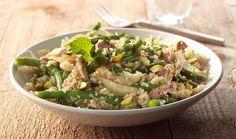 Quinoa met sperziebonen, tonijn, pistachenoten en munt