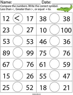 Comparing two-digit numbers Math Worksheet