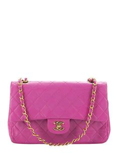 Pink Quilted Lambskin Double Flap Medium from Color Pop: Vintage Accessories on Gilt