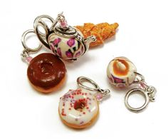 Knitting stitch markers no snag  Tea party handmade by Cofanetto, $14.00