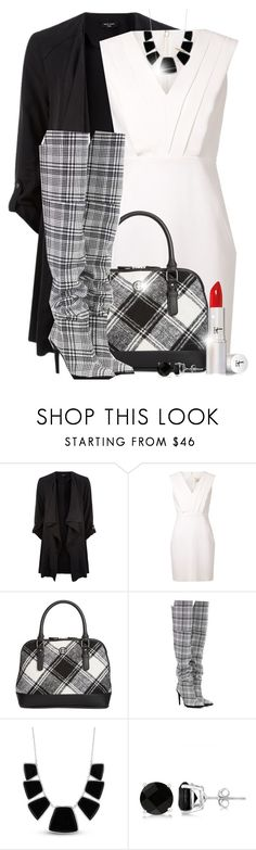 """Plaid - Bag & Shoes"" by colierollers ❤ liked on Polyvore featuring Yves Saint Laurent, Giani Bernini, Off-White, Karen Kane, Allurez and It Cosmetics"