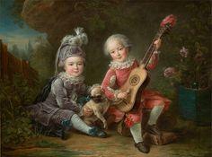 François Hubert Drouais, Les Portraits de MM. de Béthune jouant avec un chien (Children of the Marquis de Béthune Playing with a Dog), 1761, oil on canvas, unframed: 97.2 x 130.2 cm (38 1/4 x 51 1/4 in.), framed: 127 x 243.84 x 12.07 cm (50 x 96 x 4 3/4 in.). Collection of the Birmingham Museum of Art; Eugenia Woodward Hitt Collection.