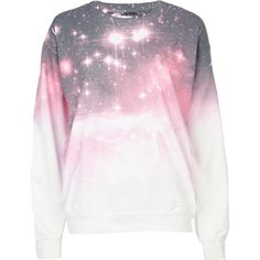 River Island Pink Cosmic Print Sweat Top ($37) ❤ liked on Polyvore featuring tops, sweaters, shirts, jumpers, river island top, long-sleeve shirt, shirt top, pink shirts and pink long sleeve shirt