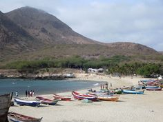 Fishermen and holiday makers share the beach at Tarrafal at the north end of Santiago Island, Cape Verde.
