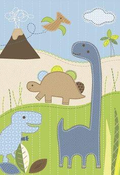 dinosaur applique design (scene, prehistoric, t-rex, tyrannosaurus, stegosaurus, volcano, pterodactyl, brontosaurus, apatosaurus, palm tree)