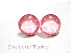 Ohrstecker - Ohrstecker Punkte rosa weiß - ein Designerstück von DeineSchmuckFreundin bei DaWanda
