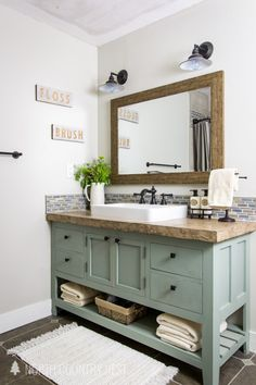 country Bathroom Decor 32 Awesome Rustic Bathroom Decorating Ideas - While building and decorating bathroom spaces, one must be very careful. These days, each bedroom has an adjacent bathroom. Because of this proximity,. Bathroom Renos, Bathroom Renovations, Bathroom Interior, Home Remodeling, Decorating Bathrooms, Diy Bathroom Furniture, Remodel Bathroom, Redo Bathroom, Bathroom Canvas