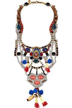 Erickson Beamon|Tribal Patchwork gold-plated Swarovski crystal bib necklace|NET-A-PORTER.COM