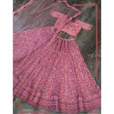 Dusty rose net glitter zari embroidered border work lehenga choli