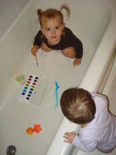 Toddler Fun = watercolors in the bathtub! Do much cleaners - do right before bathtime.