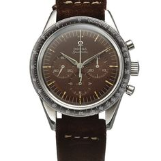 OMEGA REF 2998-2 SPEEDMASTER TROPICAL DIAL STEEL Omega, Speedmaster, No. 17302525, Ref. 2998-2. Made circa 1962. Fine, water-resistant, stainless steel wristwatch with round button chronograph, registers and tachometer.