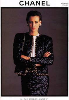 : Chanel  Season: Fall 1986  Photographer: Arthur Elgort  Model(s): Ines de la Fressange
