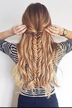 Half up fishtail check out cute girls hairstyles for more information #EverydayHairstylesMedium #CuteEverydayHairstyles