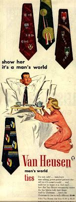 """This pin shows how this woman is treated as an object rather than a person.  The pose that the woman is in insinuates that she is less important than the man, where she kneeling down to him and he is sitting back with his hands behind his head.  The ad supports this through it's statement, """"Show her it's a man's world""""."""