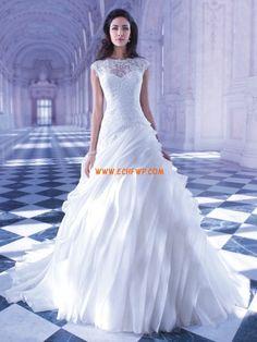 Jaro 2014 Lodičkový výstřih Okouzlijící & dramatický Svatební šaty 2013