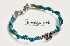 Blue butterfly bracelet, macrame bracelet, macrame jewelry