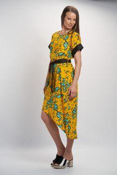 Vellamo Dress - Yellow :: Vuurran.fi Seventh Wave, Yellow Dress, Black Fabric, Fabric Patterns, Woven Fabric, Short Sleeve Dresses, Feminine, Elegant, Beautiful