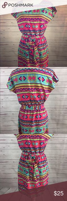 All for color Aztec multi colored funky fun dress Absolutely adorable bright and fun . Like new . Any questions or offers I'm here to help :) all for color Dresses